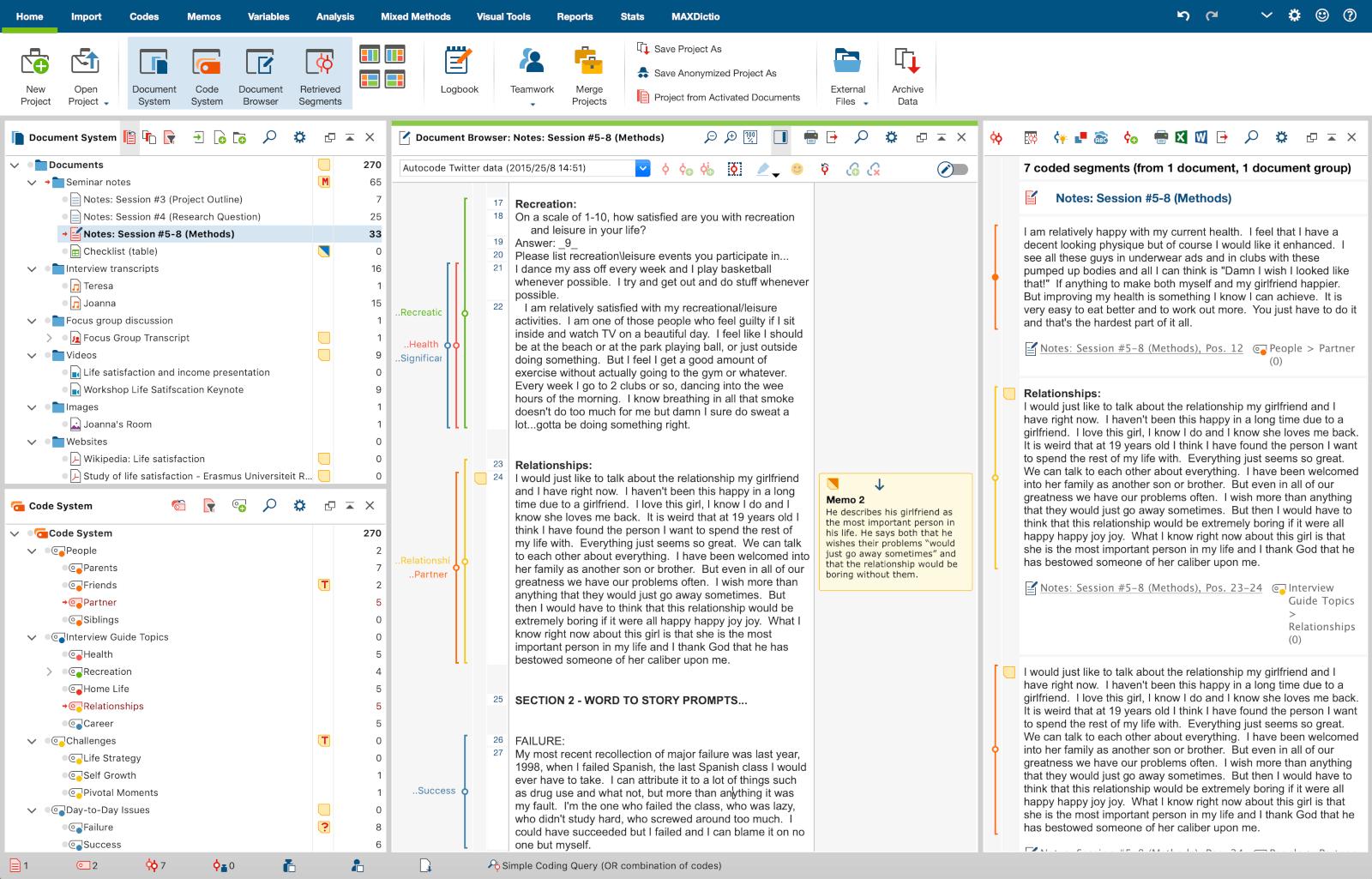 Mit der intuitiven Oberfläche der QDA Software MAXQDA behalten Sie den Überblick