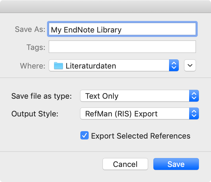 Export options Endnote