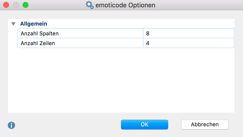 Emoticode Optionen