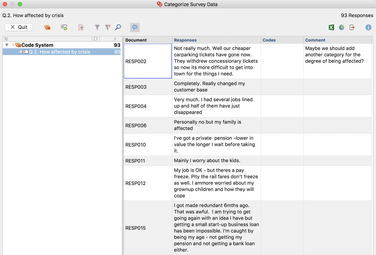 Interactive table window for categorizing survey responses