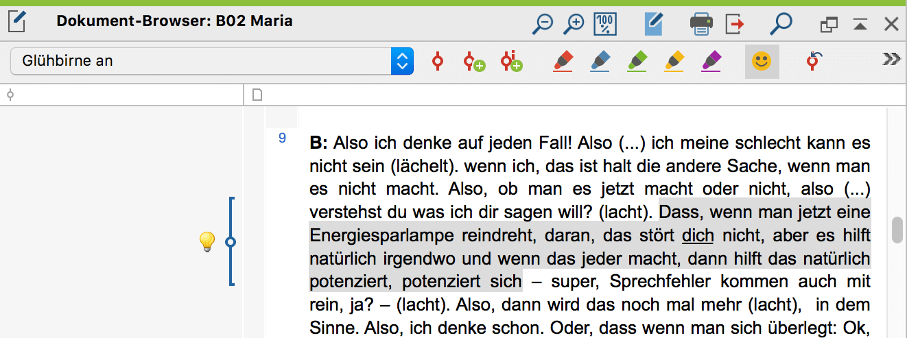 "Codierstreifen mit emoticode im ""Dokument-Browser"""