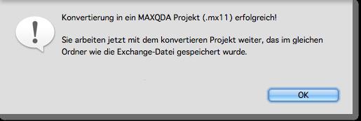 Ein Mac-kompatibles MAXQDA Projekt wird erstellt