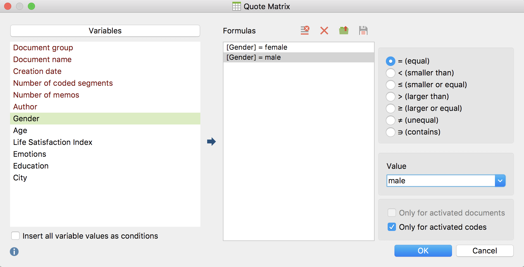 Defining columns for the Quote Matrix