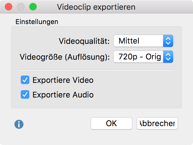 Optionen für den Export eines Video-Clips