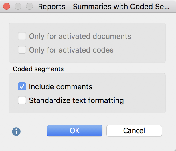 Options for creating a report of your summaries with coded segments