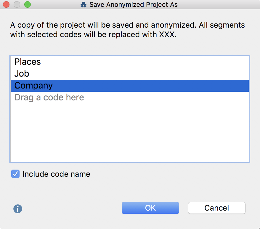 Options dialog window for the selection of codes, the texts of which should be anonymized