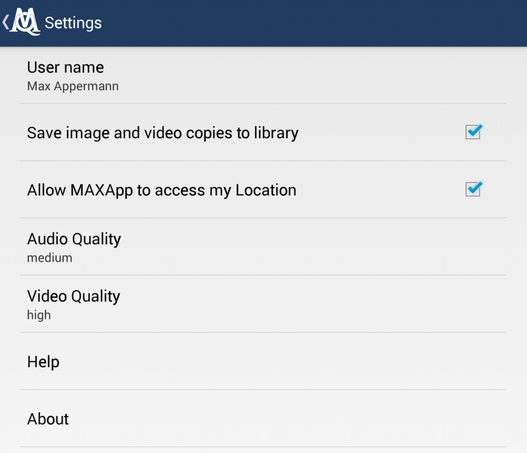 MAXApp settings and saving options