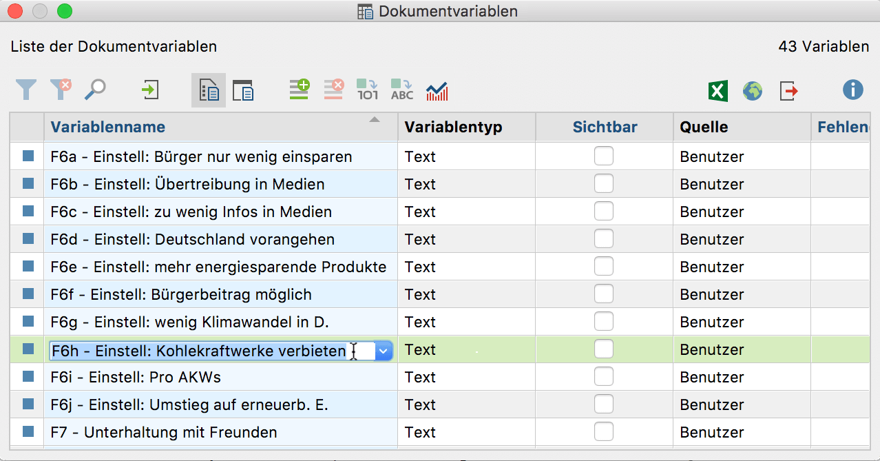 "Variable in der ""Liste der Dokumentvariablen"""