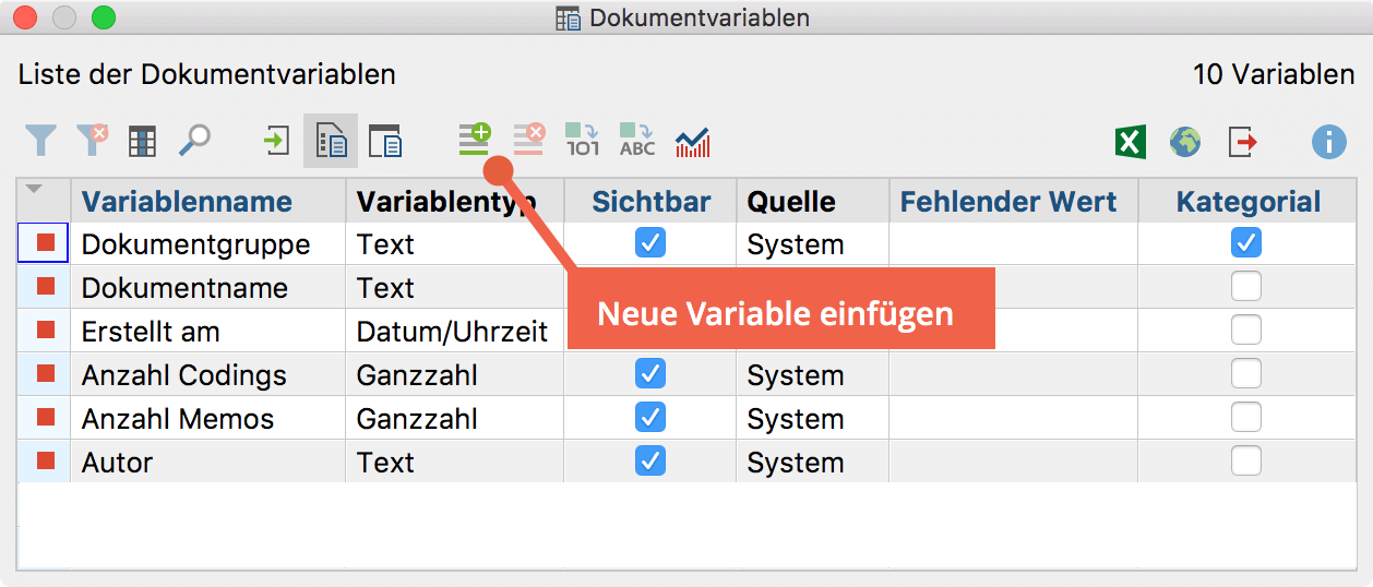 Neue Variable per Quickbutton einfügen