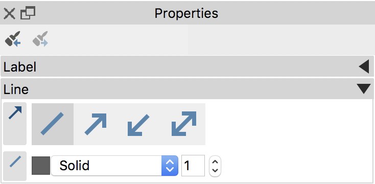 In the Properties window you can adit the appearance of a linking line.