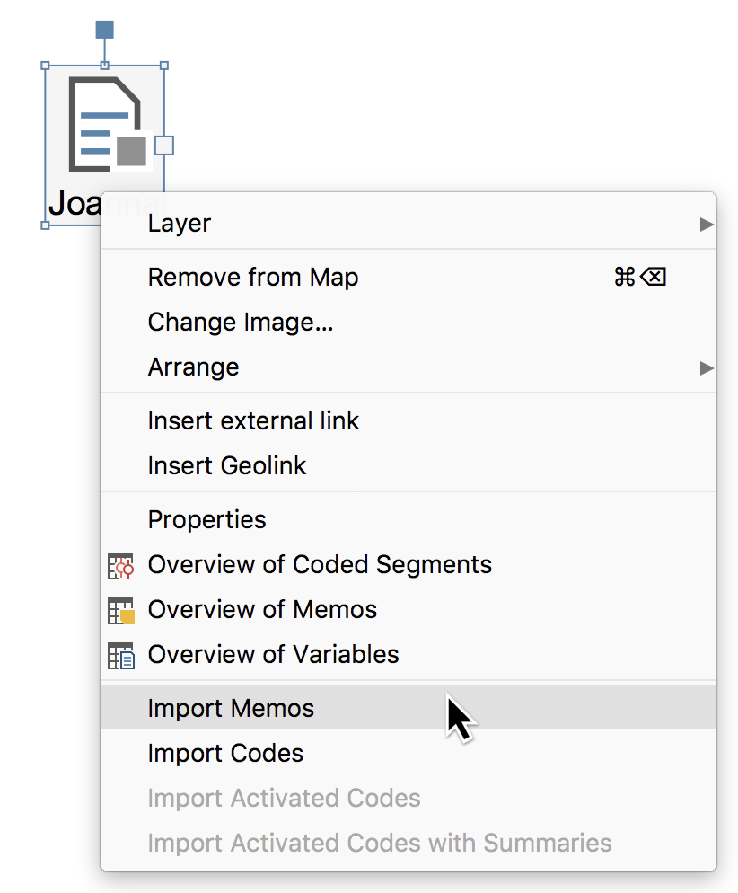 Context menu for the document icon in a map