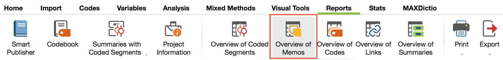 Open the Overview of memos in the Reports tab