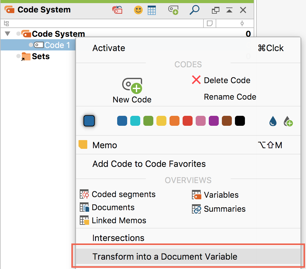 Transform a code into a document variable