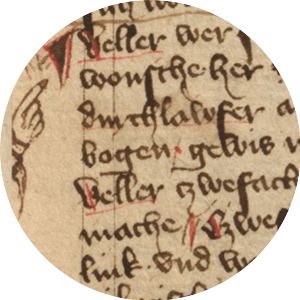 Folio from a 14th century manuscript (HS 3227a, fol. 27r) with a manicula pointing to an important fragment of the text. Public domain.